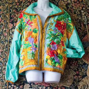 Tropical Aqua Windbreaker - Vintage & Unique